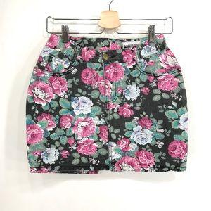 Paris Blues Vintage Black Denim Floral Mini Skirt